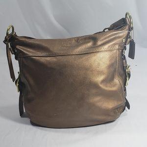 Coach Gold Leather Large Hobo Shoulder Bag Purse